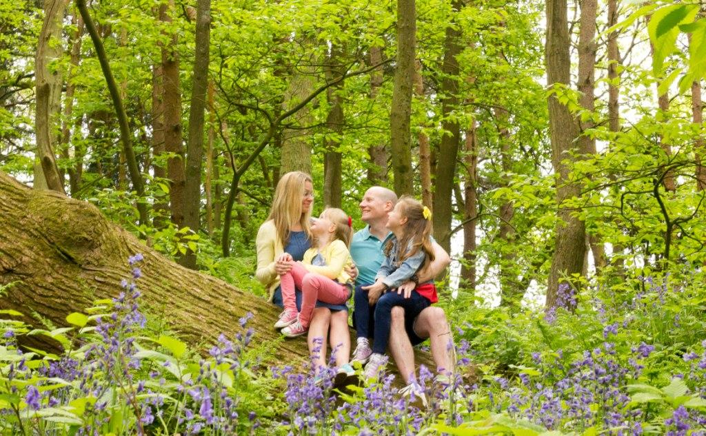Family photography in Bluebell woods